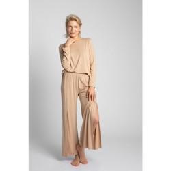 Textil Ženy Pyžamo / Noční košile Lalupa LA026 Viskózové kalhoty s vysokými rozparky - cappuccino