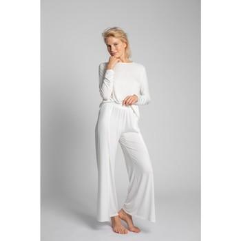 Textil Ženy Pyžamo / Noční košile Lalupa LA026 Viskózové kalhoty s vysokými rozparky - ecru barva