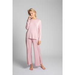 Textil Ženy Halenky / Blůzy Lalupa LA027 Viskózový dlouhý rukáv s otevřenými zády - růžový