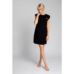 Textil Ženy Krátké šaty Lalupa LA033 Bavlněné žebrované šaty na spaní - černé