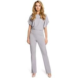Textil Ženy Overaly / Kalhoty s laclem Moe M319 Kombinéza s širokými nohavicemi - šedá