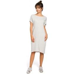 Textil Ženy Šaty Be B050 Midi šaty s kapsami ve švu - světle šedé