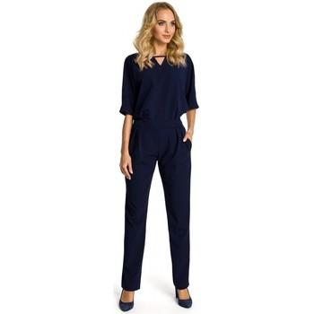Textil Ženy Overaly / Kalhoty s laclem Moe M334 Kombinéza s kimonovým rukávem - tmavě modrá