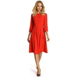Textil Ženy Krátké šaty Moe M335 Šaty se skládaným sklady vpředu - červené