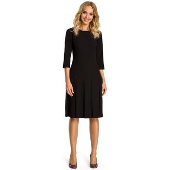 Textil Ženy Krátké šaty Moe M336 Šaty se spadlým pasem a záhyby - černé