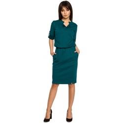 Textil Ženy Krátké šaty Be B056 Pletené košilové šaty - zelené