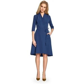 Textil Ženy Krátké šaty Style S099 Šaty s asymetrickým lemem - tmavě modré