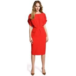 Textil Ženy Krátké šaty Moe M364 Plášťové šaty s kimonovými rukávy - červené
