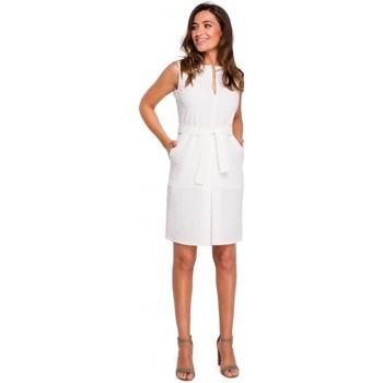 Textil Ženy Krátké šaty Style S158 Pouzdrové šaty bez rukávů s předním sklady - ecru barva