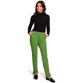Textil Ženy Kalhoty Be B124 Jogger kalhoty s rozparky - limetkové