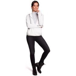 Textil Ženy Mikiny Be B127 Zavinovací svetr s kapucí - ecru barva