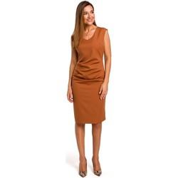 Textil Ženy Krátké šaty Style S174 Šaty bez rukávů s nabíraným předním dílem - zrzavé
