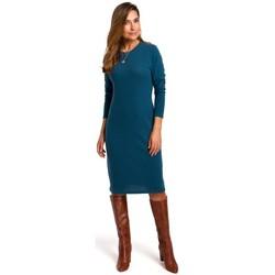Textil Ženy Šaty Style S178 Svetrové šaty s dlouhým rukávem - oceánsky modré