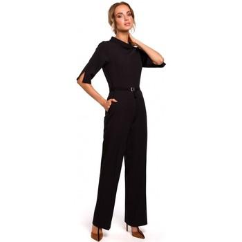 Textil Ženy Overaly / Kalhoty s laclem Moe M463 Kombinéza se stojáčkem - černá