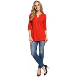 Textil Ženy Halenky / Blůzy Moe M278 Tunika se zipem u krku - červená