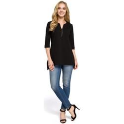 Textil Ženy Košile / Halenky Moe M278 Tunika se zipem u krku - černá