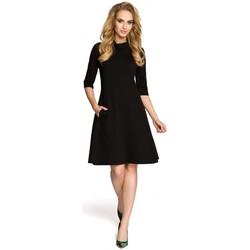 Textil Ženy Krátké šaty Moe M279 Šaty s želvovinovým výstřihem - černé