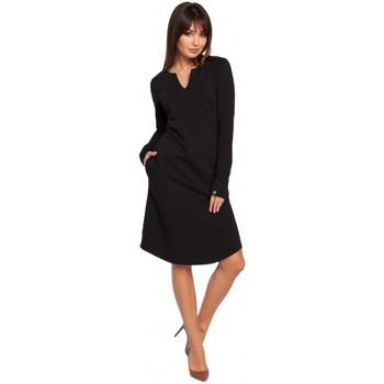 Textil Ženy Šaty Be B017 Šaty s výstřihem - černé