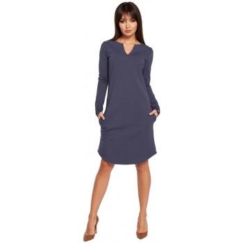Textil Ženy Krátké šaty Be B017 Klasyczna sukienka z rozcięciem na dekolcie - niebieska