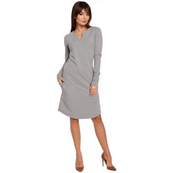 Textil Ženy Šaty Be B017 Šaty s výstřihem - šedé