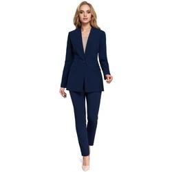 Textil Ženy Obleková saka Moe M304 Bunda s jedním knoflíkem - tmavě modrá
