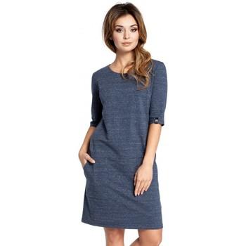 Textil Ženy Krátké šaty Be B033 Šaty Box shift - tmavě modré