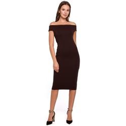 Textil Ženy Krátké šaty Makover K001 Pletené šaty na ramena - hnědé