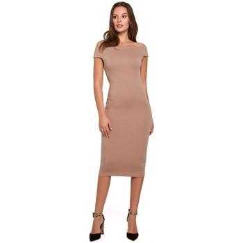 Textil Ženy Krátké šaty Makover K001 Pletené šaty na ramena - béžové