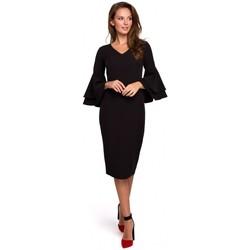 Textil Ženy Krátké šaty Makover K002 Plášťové šaty s volánkovými rukávy - černé