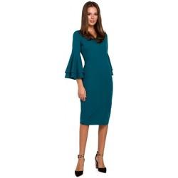 Textil Ženy Šaty Makover K002 Plášťové šaty s volánkovými rukávy - oceánsky modré