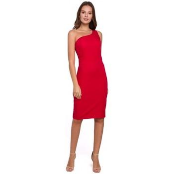 Textil Ženy Krátké šaty Makover K004 Tužkové šaty s výstřihem do V - černé