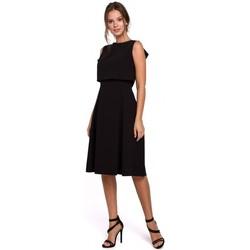 Textil Ženy Krátké šaty Makover K006 Úpletové šaty s řasenými detaily - heather