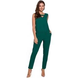 Textil Ženy Overaly / Kalhoty s laclem Makover K009 Jednodílný overal s výstřihem do V - zelený