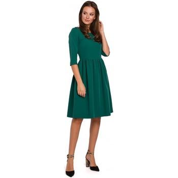 Textil Ženy Krátké šaty Makover K010 Přiléhavé šaty s nabíraným pasem - zelené