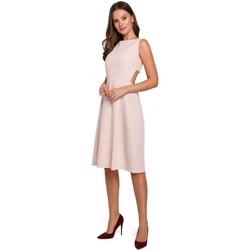 Textil Ženy Krátké šaty Makover K011 Šaty s rozevlátými zády - béžové