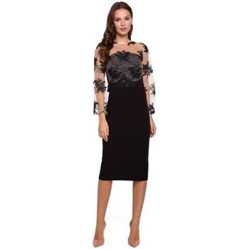 Textil Ženy Krátké šaty Makover K013 Šaty v tužce s guipure topem - černé