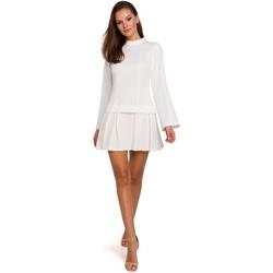 Textil Ženy Krátké šaty Makover K021 Mini šaty s projmutým spodním lemem - ecru barva