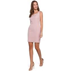 Textil Ženy Šaty Makover K022 Mini šaty se čtvercovým výstřihem - krepové růžové