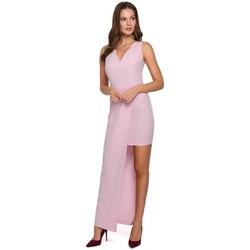 Textil Ženy Šaty Makover K026 Dlouhé asymetrické šaty - lila