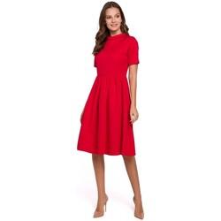 Textil Ženy Šaty Makover K028 Šaty s ohrnutým výstřihem - červené