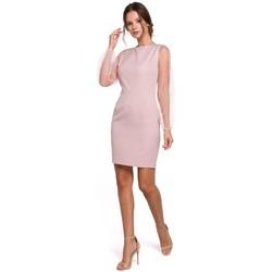 Textil Ženy Krátké šaty Makover K032 Tylové mini šaty s rukávy - krepové růžové
