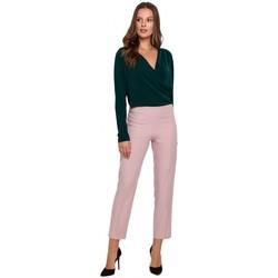 Textil Ženy Kalhoty Makover K035 Kalhoty s elastickým pasem - krepová růžová