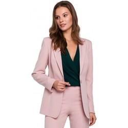 Textil Ženy Obleková saka Makover K036 Blejzr s jednou zadní částí - krepově růžový