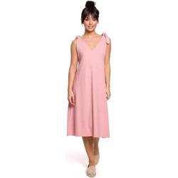 Textil Ženy Krátké šaty Be B148 Trapézové šaty s vázáním - růžové