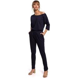 Textil Ženy Overaly / Kalhoty s laclem Moe M497 Kombinéza s rukávy Dolman - tmavě modrá