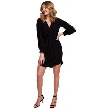 Textil Ženy Šaty Makover K044 Šaty Draped shift - černé