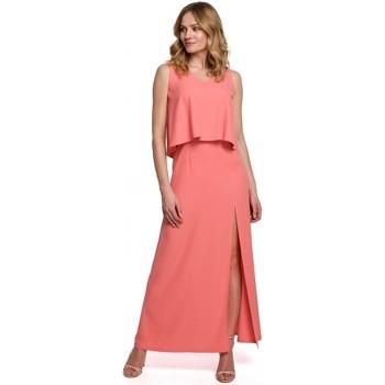 Textil Ženy Šaty Makover K048 Maxi šaty s volánkem - oranžové