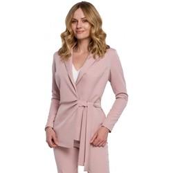 Textil Ženy Obleková saka Makover K056 Sako s páskem na zavazování - krepová růžová
