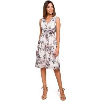 Textil Ženy Šaty Style S225 Šifonové šaty s hlubokým výstřihem - model 1