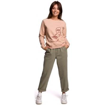Textil Ženy Mikiny Be B167 Svetr s potiskem vpředu - béžový